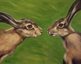 Hares hand painted in Acrylics on large stretched canvas.