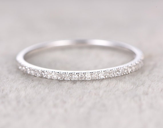Thin DesignDiamond Wedding RingSolid 14K White