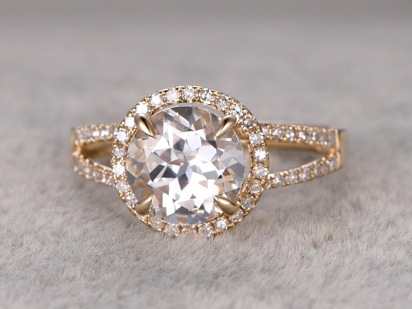 2 3ct white topaz engagement ringdiamond wedding ring14k