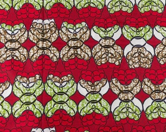 Red Green White Black Wax Prints African Ankara Fabric Per Yard