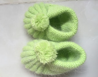 Green Knitted baby shoes handmade