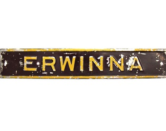 Vintage Erwinna Pennsylvania (PA)/Metal Railroad Sign/RR Signs Train Station Signs/Vintage Signs/Erwinna PA