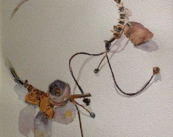 giclee reproduction of original watercolour of open necklace