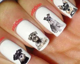 Dog nail art etsy 60 schnauzer dog waterslide or peel apply nail art decal image prinsesfo Gallery