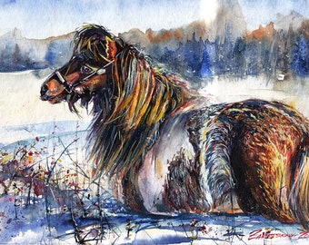 Original watercolor paintind - Animal - Winter - Pony in the snow