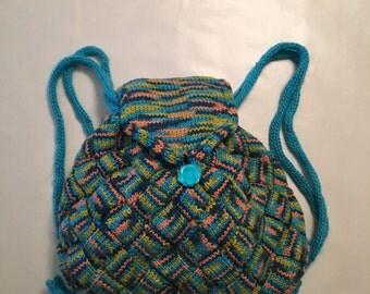 A Handmade Blue Green Backpack
