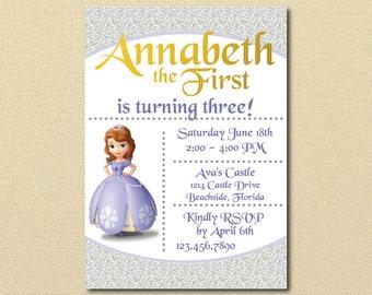 Sophia the First Invitation, Sophia the 1st Birthday Party, Disney Princess, Girl Birthday, Princess Party, Toddler Birthday,Princess Invite