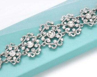 Art Deco Wedding bracelet, Bridal bracelet, Rhinestone bracelet, Bridesmaid bracelet, Wedding jewelry, Bridal jewelry accessory 0144