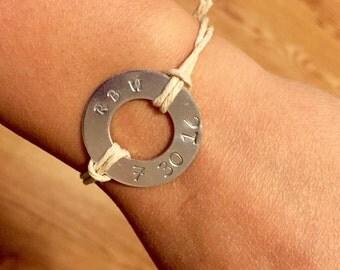 Hand-stamped anniversary bracelet