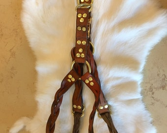 Brown Braided Leather Step-in Dog Harness
