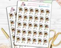 Dark Skin Freckles Cleaning Day Planner Stickers let's clean trash day bathroom mop dust clean floors cleaning time trash can | 101D