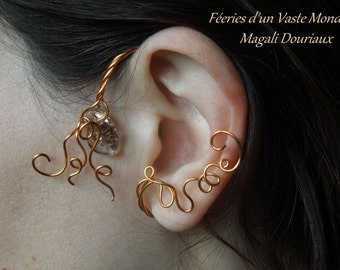Copper Elvish left ear glass bead