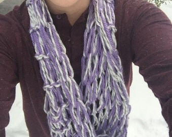 Purple and White Arm Knit Scarf