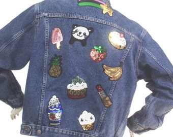 jean jacket with greedy Sequins Size S Brand Crekks