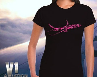 Airplane print women t-shirt, Black/magenta