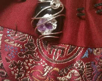 Natural Handmade Jet and Amethyst Wire Wrap Pendant z11