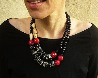 Black Seed Necklace, Ethnic Necklace, Multi Strand Necklace, Colombian Jewelry, Native American Jewelry, Black and Red Statement Necklace