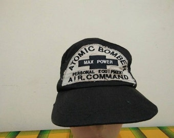 Rare Vintage Atomic Bomber Personal AIR COMMAND Cap Hat Free size fit all
