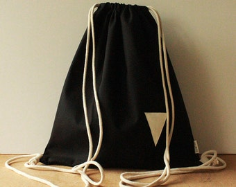 Sack Bag Backpack Made of Cotton in black