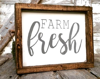 Farmhouse Sign | Farm Fresh Sign | Farmhouse Decor | Cottage Kitchen | Whitewash Sign | French Country Kitchen | Farmhouse Kitchen Sign
