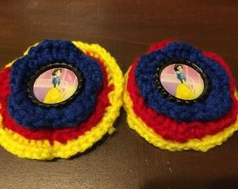 Disney Snow White Inspired Crochet Flower Hair Bow