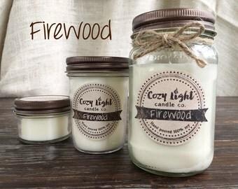 Firewood Soy Candle | Mason Jar Candle