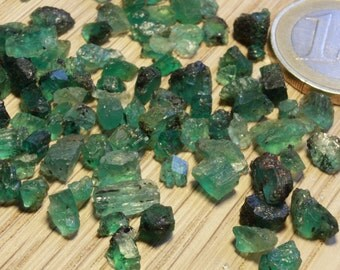 A parcel of rough Columbian emerald crystal chips, 45.8ct (111 crystals)