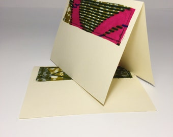 Pink and Green Blank Card // Greeting Card // African Print Blank Greeting Card With Envelope