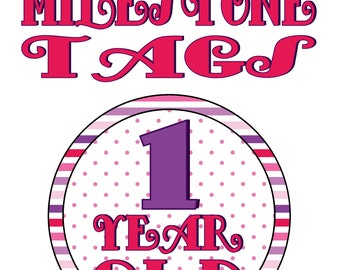 Pink and Purple Baby Milestone Tags- INSTANT DOWNLOAD!!