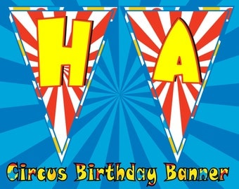 Circus Birthday Banner- INSTANT DOWNLOAD