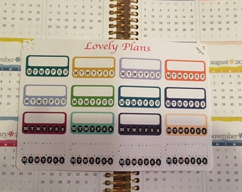 Colorful Habit Tracker planner stickers