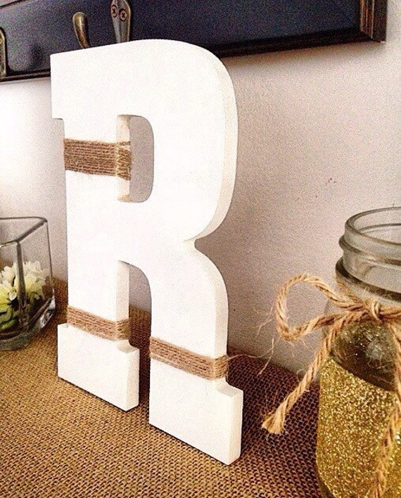 Initial Home Decor: Wooden Letter Initial Twine Wrapped Rustic Home Decor