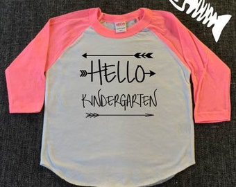 Hello Kindergarten, Kindergarten shirt, toddler girls shirt, girls shirts, school shirts, school