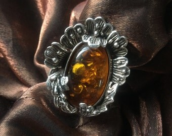 Sterling Silver 925 Sculpted Amber Ring