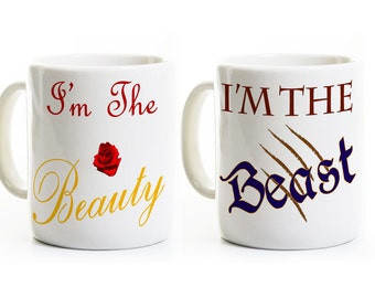 Beauty and Beast Coffee Mugs - Inspired Gift for Couples -His and Her Anniversary Wedding Gift -Engagement Gift -Coffee Mugs