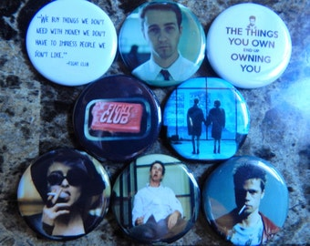 8 Fight Club Pin Buttons 1.25 Inch Diameter