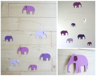 Elephant Mobile - Purple Ombre - Modern Scandinavian Home Decor - Baby Nursery Crib or Home & Office - Unique Shower Gift - Balanced 3D Art