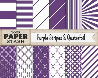 Purple Digital Paper, Purple Quatrefoil, Purple, Stripe, Wide Stripe, Diagonal Lines, Sunburst Pattern, Scrapbook Paper, Birthday Scrapbook
