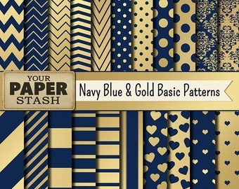 Navy Blue & Gold Digital Paper, Blue, Gold, Scrapbook Paper, Digital Paper, Navy, Wedding, Elegant, Scrapbook Page, Commercial Use, Download