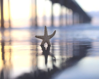 Starfish Pier Beach Print, Wall Art, Starfish Print, California Photo, Sunset Photography,  Seascape, Coastal Photography, Pastel Decor