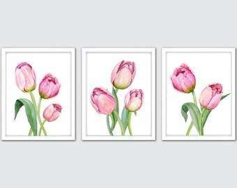 Watercolor Tulip Art Prints – Set of 3 Pink Tulip Wall Art