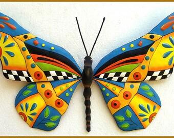 Butterfly Metal Wall Art - Hand Painted Metal Outdoor Yard Art - Garden Decor - Butterflies - Metal Wall Hanging - Tropical Design  J-0902-Y