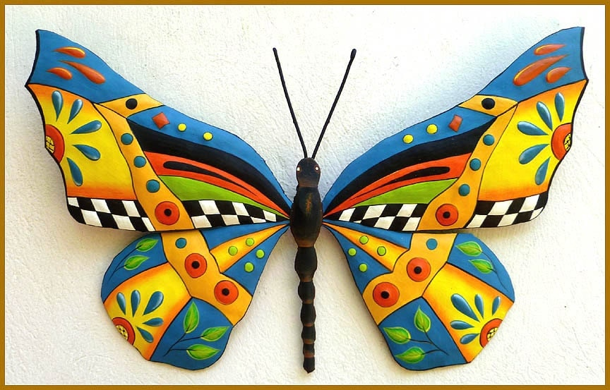 Metal wall art painted metal art garden decor butterfly for Outdoor butterfly decor