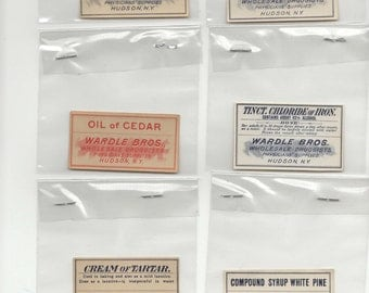 10 Vintage Pharmacy and Apothecary Labels (Lot 2)-Wardle Brothers Drug Store (Hudson, New York)