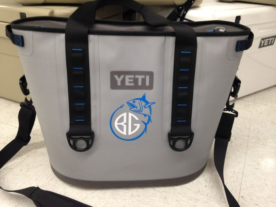 Fishing monogram decal perfect fit for yeti by for Fishing yeti decal