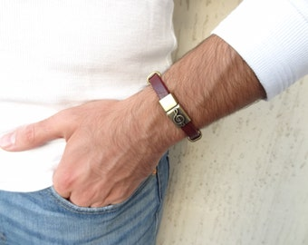 EXPRESS SHIPPING,Men's Burgundy Leather Bracelet,Music Note Bracelet,Men's Jewelry,Antiquing Magnetic Clasp Bracelet,Father's Day Gifts