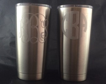 Etched Look, Monogram Decal for Yeti Rambler Tumbler or Colster