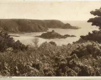 View of Janvrin's Tomb Portelet Bay JERSEY Channel Islands UK POSTCARD