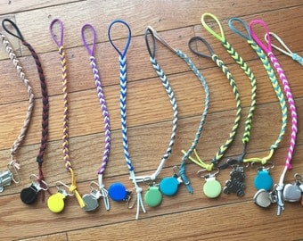 Leather Pacifier Clips| Faux Suede Braided Clips