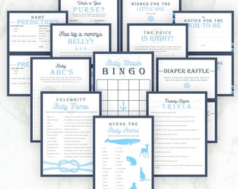Baby Shower Boy Games Nautical Theme Baby Blue - Bingo, Price is Right, What's in Your Purse, Baby Prediction, Diaper Raffle, ABC Printable